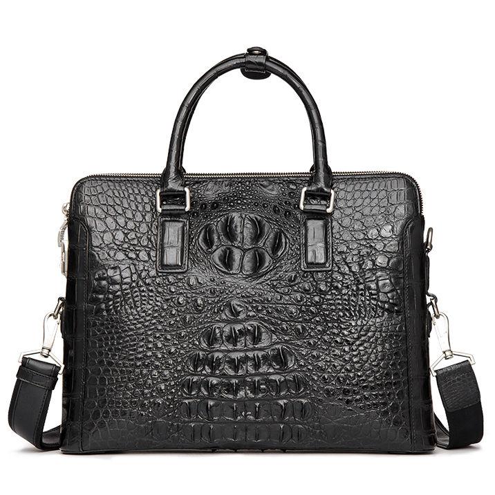 Crocodile Leather Laptop Shoulder Bag