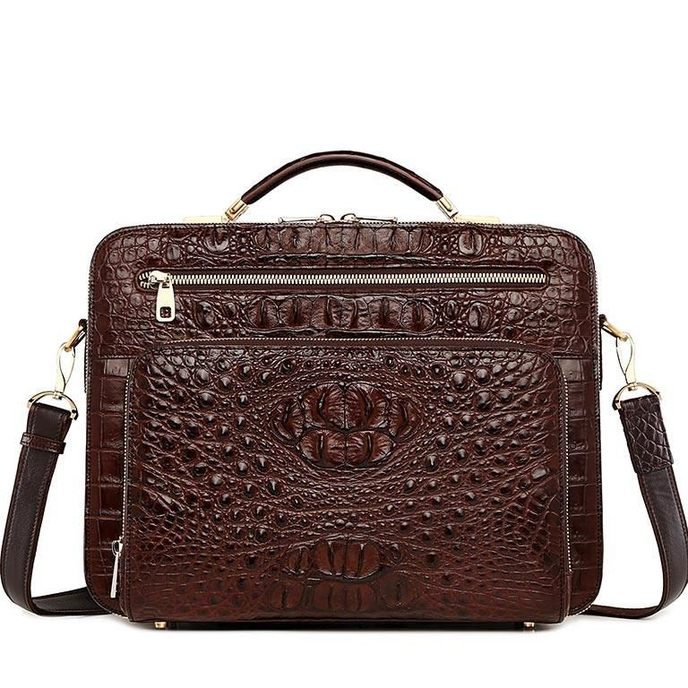 Handmade Crocodile Leather Laptop Bag