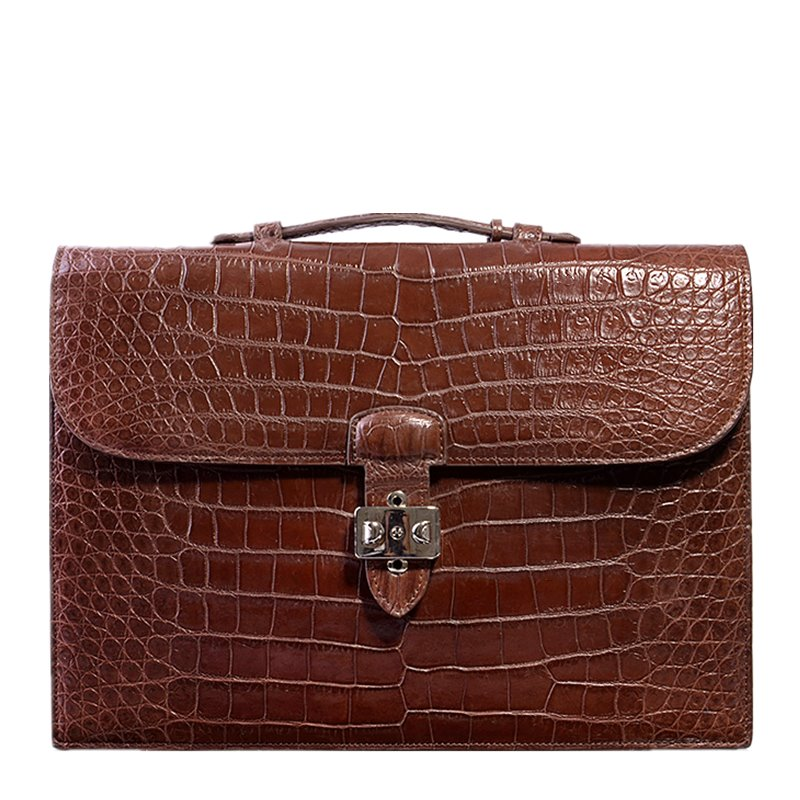 Style Alligator Leather Laptop Bag with Lock