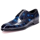 Alligator Hand-Painted Wingtip Derby Shoes-Blue