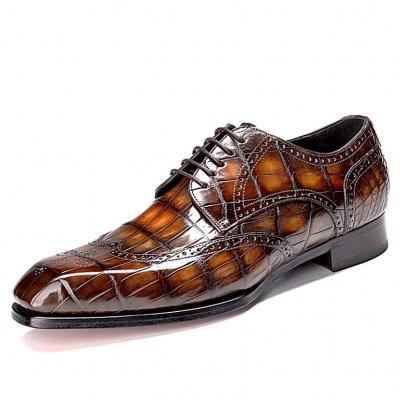 Alligator Wingtip Derby Shoes for Men