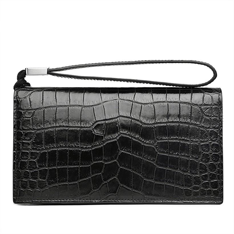 Alligator Clutch Bag Organizer Checkbook Wallet Card Case with Wristlet