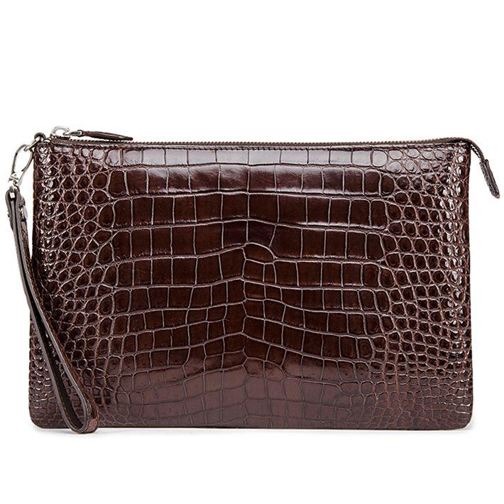 Alligator Envelope Clutch Bag Large Wallet With Strap