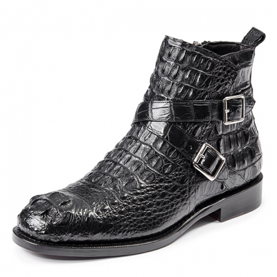 Crocodile Hornback Skin Zipper and Buckle Ankle Boots for Men