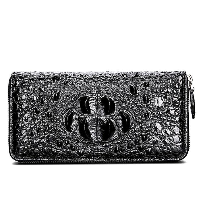Crocodile Zip Around Long Wallet for Men_ Travel Card Holder Phone Wallet