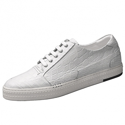 Men's Alligator Leather Lace-Up Sneakers