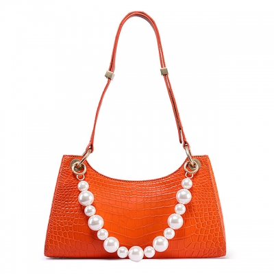 Designer Alligator Shoulder Purses Hobo Handbags-Orange