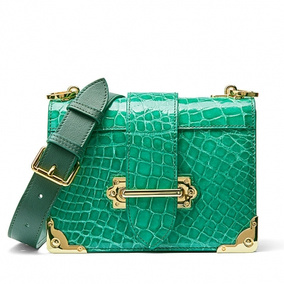 Mini Alligator Shoulder Bags Evening Clutch Purses - Green