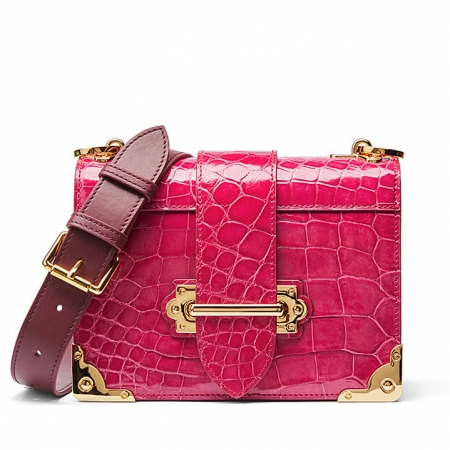 Mini Alligator Shoulder Bags Evening Clutch Purses - Pink
