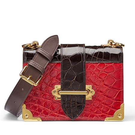 Mini Alligator Shoulder Bags Evening Clutch Purses - Red
