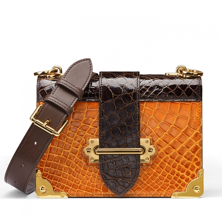 Mini Alligator Shoulder Bags Evening Clutch Purses - Yellow