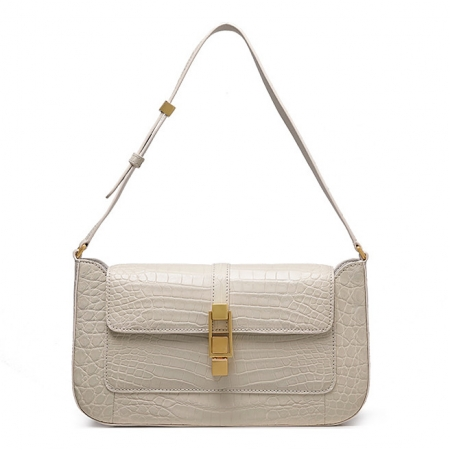 Stylish Alligator Clutch Purses Shoulder Bags-Beige