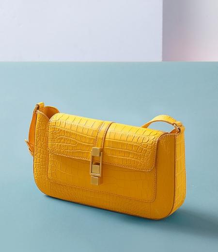 Stylish Alligator Clutch Purses Shoulder Bags-Yellow-1