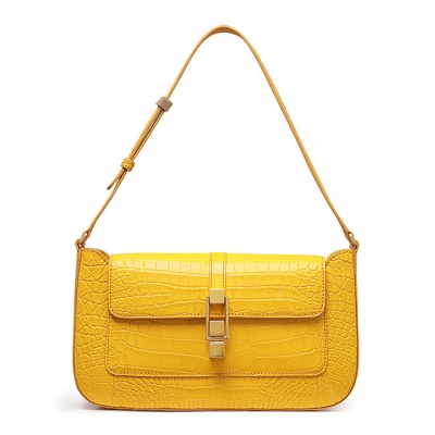 Stylish Alligator Clutch Purses Shoulder Bags-Yellow