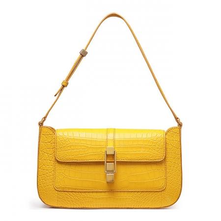 Stylish Alligator Clutch Purses Shoulder Bags-Yellow