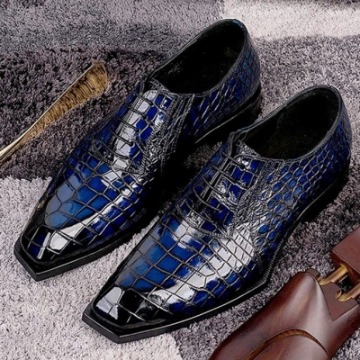 Alligator Lace Up Oxford Goodyear Welted Shoes