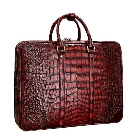 Alligator Leather Briefcase Laptop Bag Shoulder Business Bag for Men-Burgundy