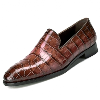 Men's Alligator Skin Slip-on Loafers Classic Business Shoes