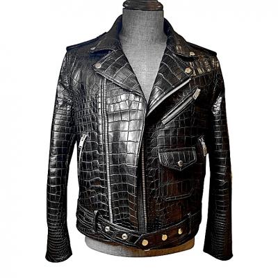 Casual Alligator Leather Motorcycle Biker Jacket for Men