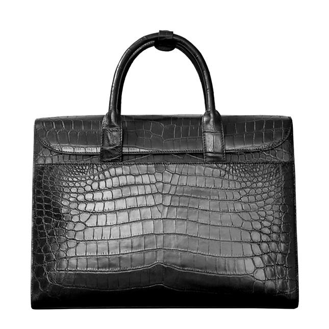 Formal Alligator Leather Flapover Briefcase Laptop Business Bag for Men