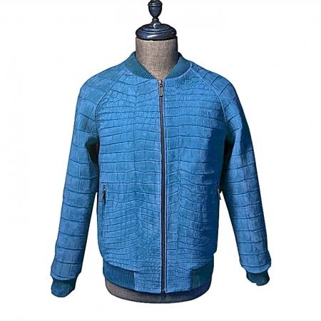 Stylish Suede Crocodile Leather Bomber Jackets - Blue