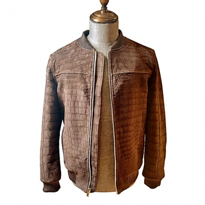 Stylish Suede Crocodile Leather Bomber Jackets - Brown