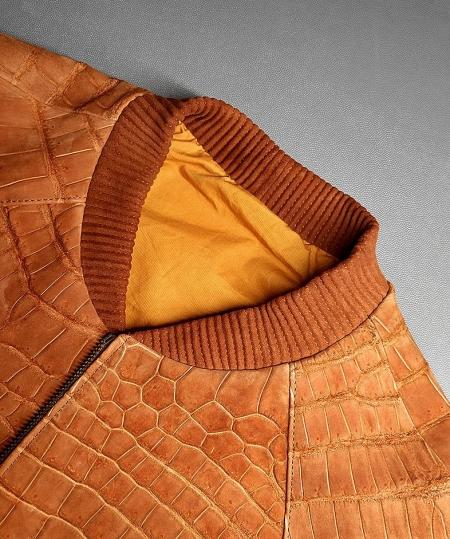 Stylish Suede Crocodile Leather Bomber Jackets-Tan-1