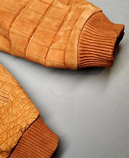 Stylish Suede Crocodile Leather Bomber Jackets-Tan-2
