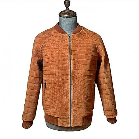 Stylish Suede Crocodile Leather Bomber Jackets - Tan