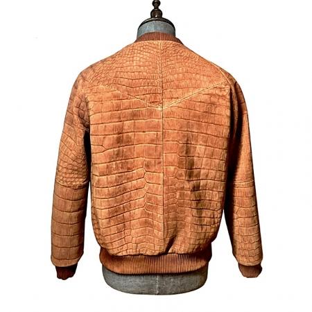 Stylish Suede Crocodile Leather Bomber Jackets - Tan - Back