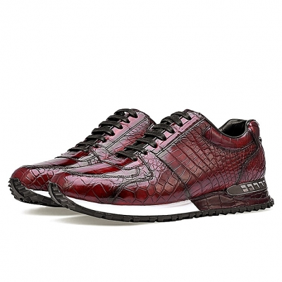 Fashion Alligator Sneakers Lace-up Walking Shoes for Men-Burgundy