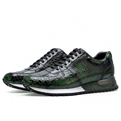 Fashion Alligator Sneakers Lace-up Walking Shoes for Men-Green