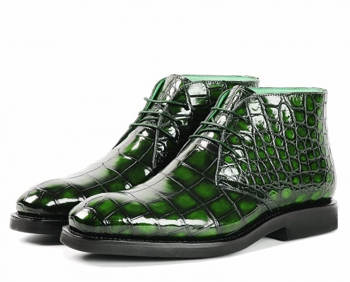 Alligator Leather Lace-Up Chukka Boots