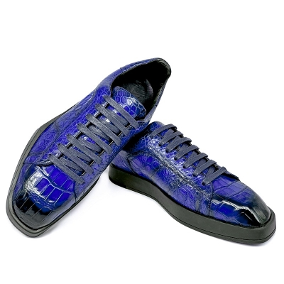Men's Causal Alligator Sneakers Lace-up Shoes-Blue