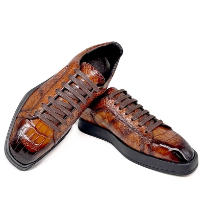 Men's Causal Alligator Sneakers Lace-up Shoes-Brown