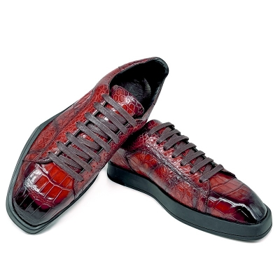 Men's Causal Alligator Sneakers Lace-up Shoes-Burgundy