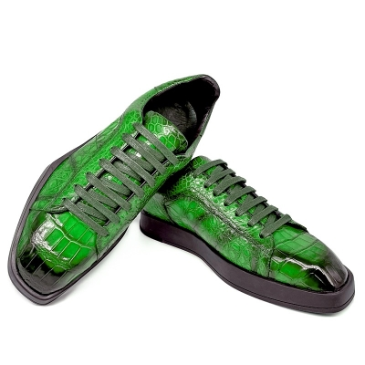 Men's Causal Alligator Sneakers Lace-up Shoes-Green