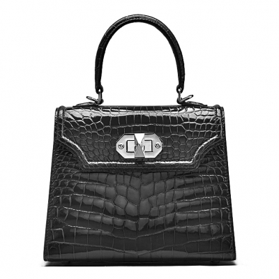 Designer Alligator Handbags Turn Lock Shoulder Bags-Black