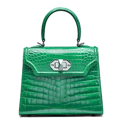 Designer Alligator Handbags Turn Lock Shoulder Bags-Green