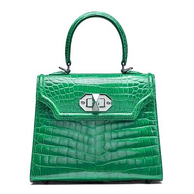 Designer Alligator Handbags Turn Lock Shoulder Bags-Green