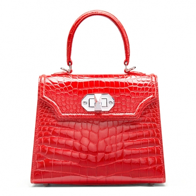 Designer Alligator Handbags Turn Lock Shoulder Bags-Red