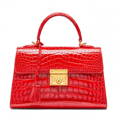 Ladies Alligator Top Handle Bags Padlock Handbags