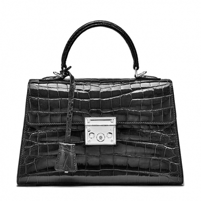 Ladies Alligator Top Handle Bags Padlock Handbags-Black