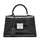 Ladies Alligator Top Handle Bags Padlock Handbags-Black