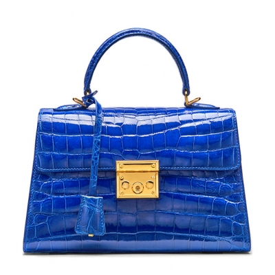 Ladies Alligator Top Handle Bags Padlock Handbags-Blue