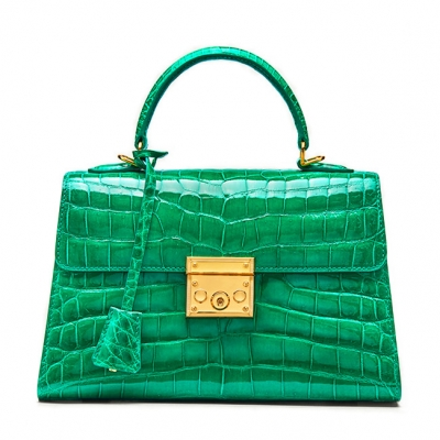 Ladies Alligator Top Handle Bags Padlock Handbags-Green