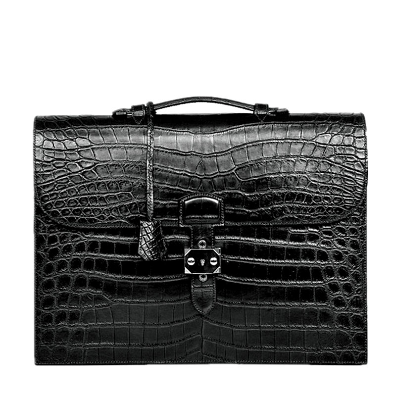 Alligator Leather Briefcase with lock for Lawyers
