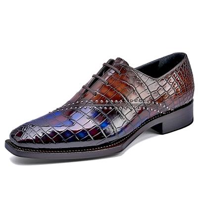Designer Alligator Oxfords Modern Lace-up Leather Lined Dress Shoes
