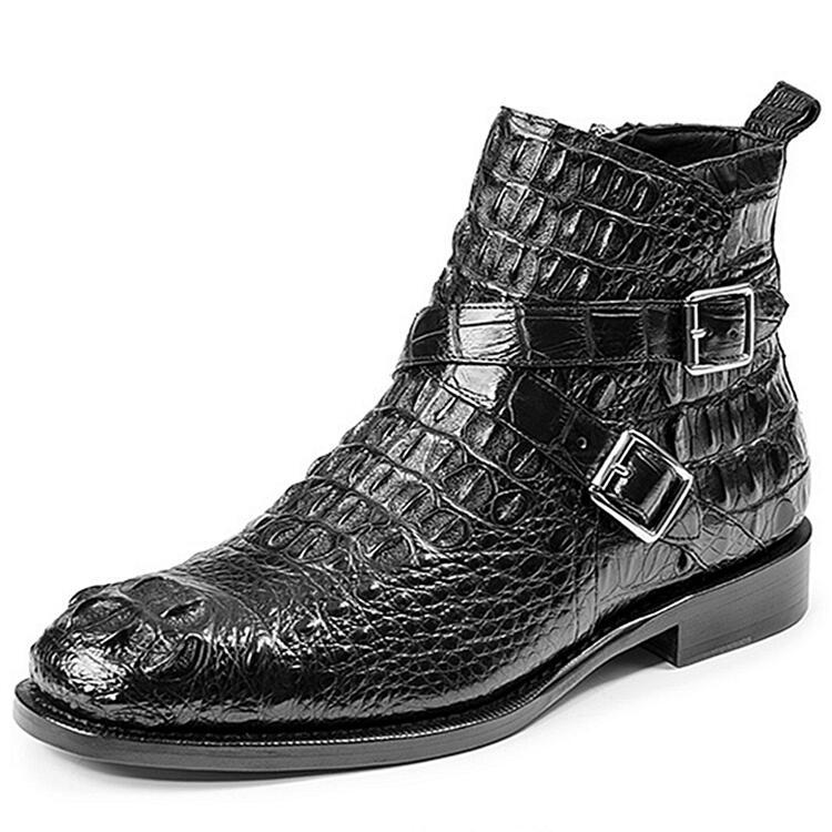 Crocodile Hornback Skin Ankle Boots for Men
