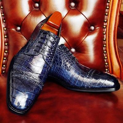 Mens Alligator Leather Shoes Modern Cap-toe Derby Shoes